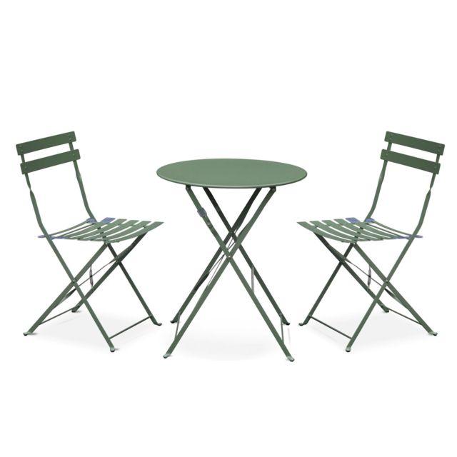 ALICE\'S GARDEN - Salon de jardin bistrot pliable - Emilia rond vert ...