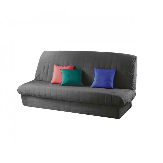 douceur d 39 interieur housse clic clac matelass e dos nu b ton 140x200 anthracite pas cher. Black Bedroom Furniture Sets. Home Design Ideas