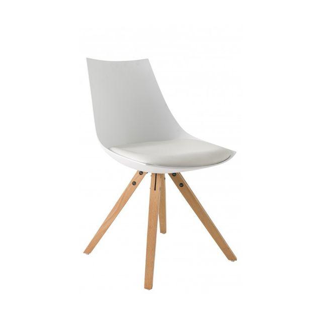 Rocambolesk Chaise Milano lot de 2 blanc pieds bois naturel