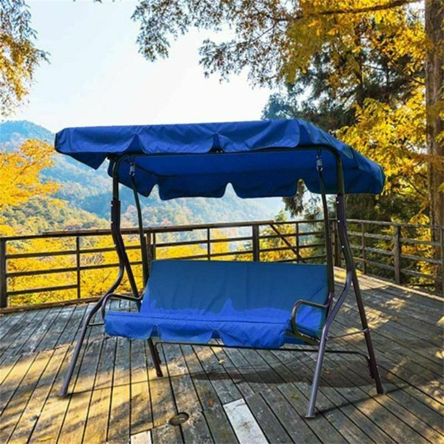 Generic Patio Swing Canopy Cover Set Swing Replacement Top Cover + Swing Cushion Cover @7e edition1