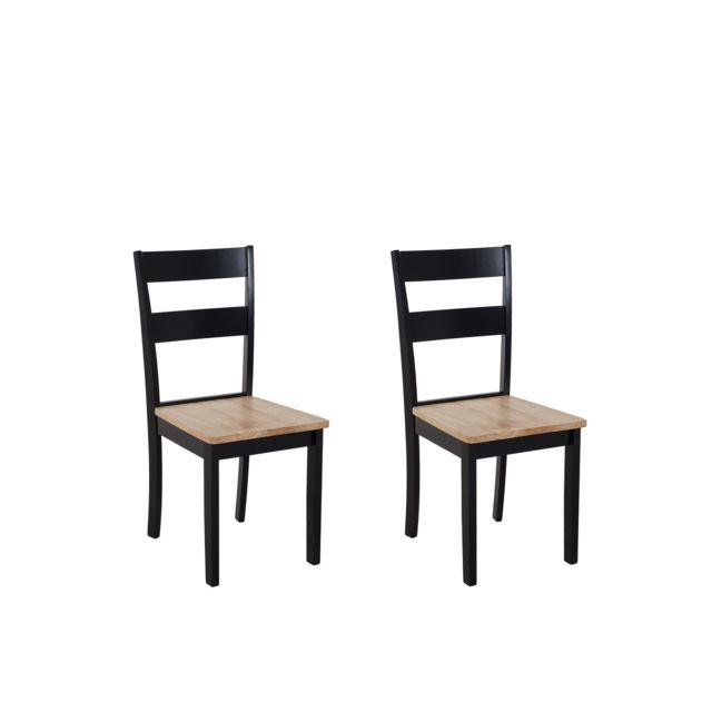 Lot de 2 chaises marron clair et noires GEORGIA blanc