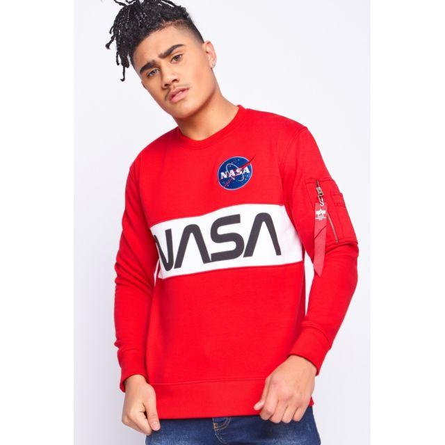 Nasa Sweat rouge avec poche sur le bras