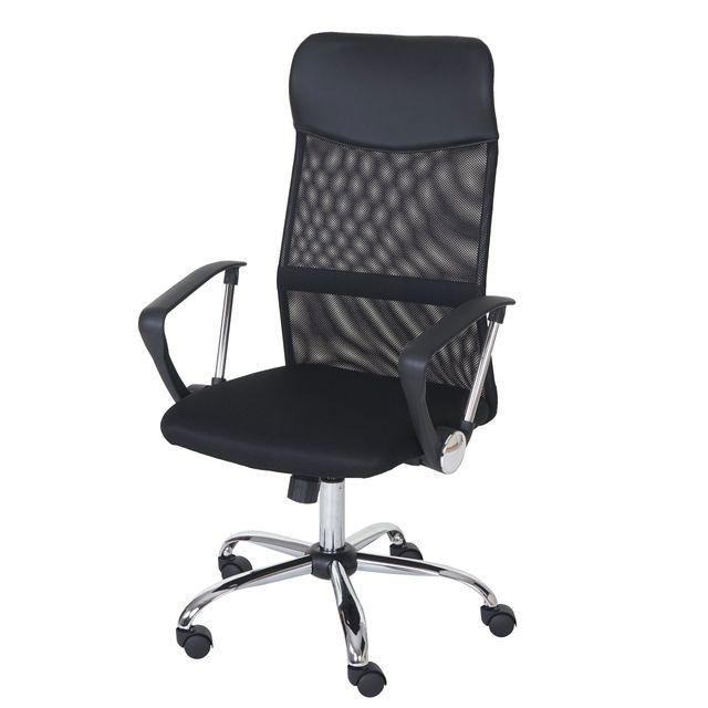 Mendler Fauteuil/siège de bureau Oslo, ergonomique, simili-cuir/filet, noir
