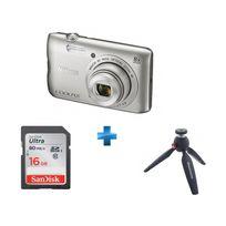 NIKON - Pack Amateur Coolpix a300 argent + Carte SDHC Ultra 16 Go + Mini trépied PIXI MTPIXI-B
