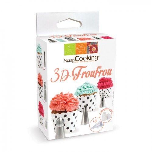 Scrapcooking Kit de 3 douilles en inox pour réaliser de superbes cupcakes à volants ou décorer vos gâteaux de froufrous pour l'élabor