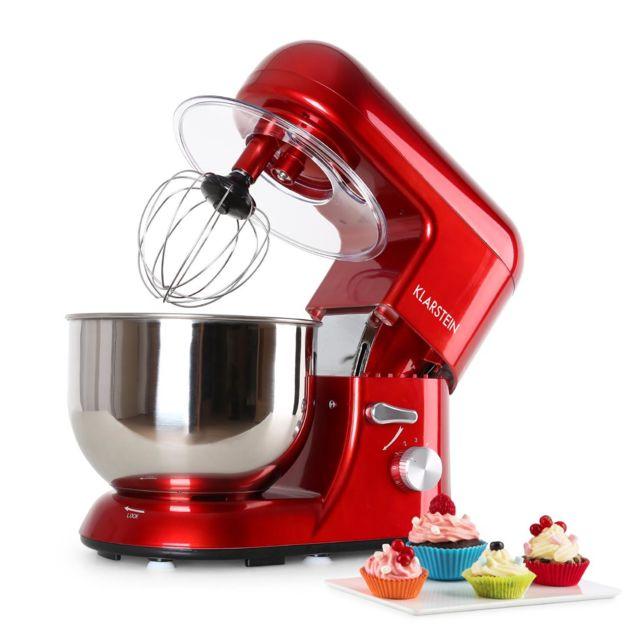 KLARSTEIN Bella Rossa Robot de cuisine multifonction 1200W - Bol mélangeur inox 5 litres - 6 vitesses - Accessoires inclus : Fouet