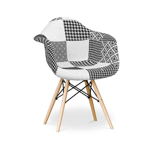 Privatefloor Chaise Dawick Noir et blanc - Patchwork