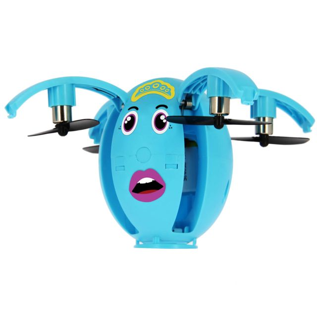 Bigben Mini Drone Enfant Smartphone Bluetooth 40 Stickers - Egg One Bleu