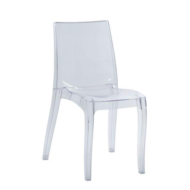 Rue du commerce cristal chaise transparent s6326tr transparente pas cher achat vente - Chaise transparente couleur ...