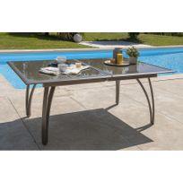Dcb Garden - Table aluminium avec plateau verre fumé Cappuccino