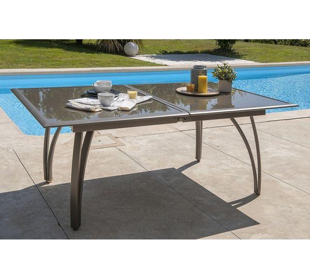 DCB GARDEN - Table aluminium avec plateau verre fumé Cappuccino ...