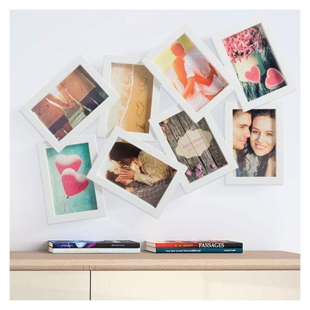 Totalcadeau Cadre-photos 8 photos pêle-mêle Couleur - Blanc