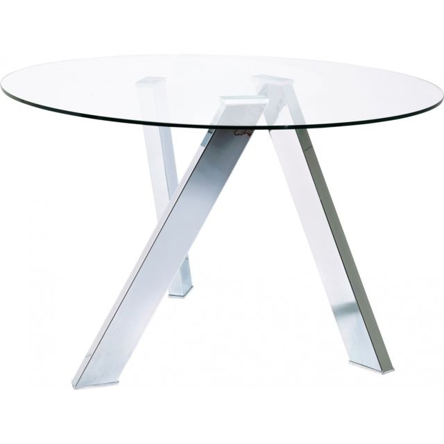 karedesign - table ronde verre mikado 120 cm kare design argent