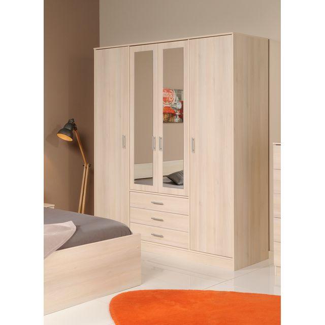 Last Meubles - Armoire 4 portes 3 tiroirs avec miroirs centraux Orizon Beige - 55cm x 202.8cm x 176cm