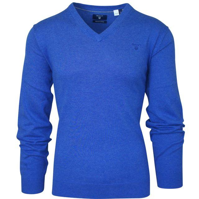 fb3220aabf5f Gant - Pull col V bleu lavande - pas cher Achat   Vente Pull homme -  RueDuCommerce
