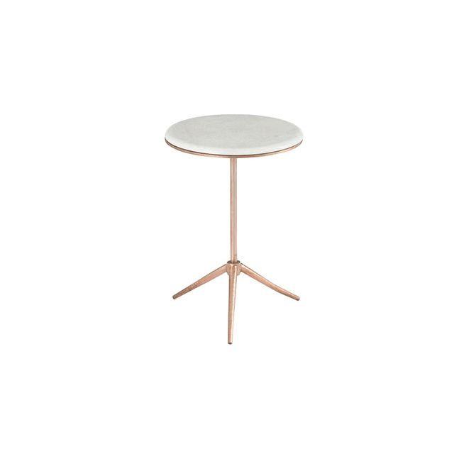 Table gigogne ronde 38x55cm sur trépier en fer cuivre