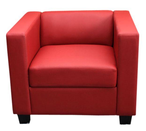 Mendler Fauteuil Club / Lounge Lille, 86x75x70cm, simili-cuir, rouge