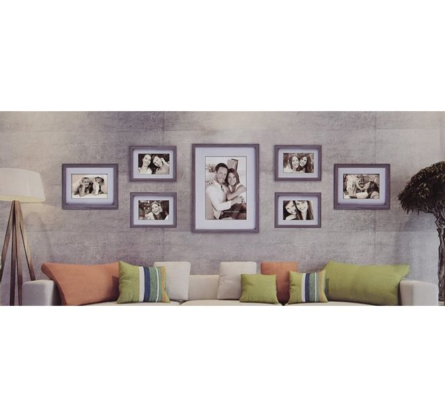 Zep Set de 7 Cadres Photo Gris en bois pour mur photo