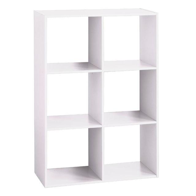 les douces nuits de ma tag re bois 6 cases blanc pas cher achat vente etag res. Black Bedroom Furniture Sets. Home Design Ideas