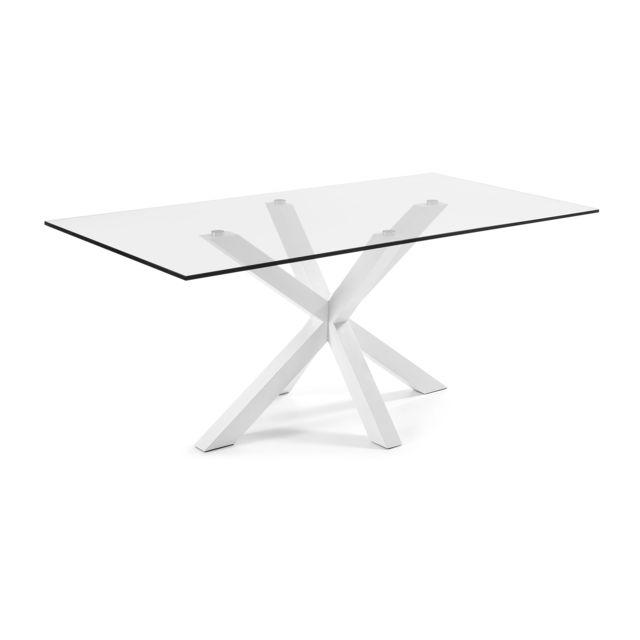 Kavehome Table Argo 200x100 cm, epoxy blanc et verre transparent