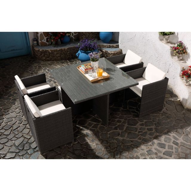 rocambolesk magnifique salon de jardin florida 4 gris blanc salon encastrable 4 personnes en. Black Bedroom Furniture Sets. Home Design Ideas