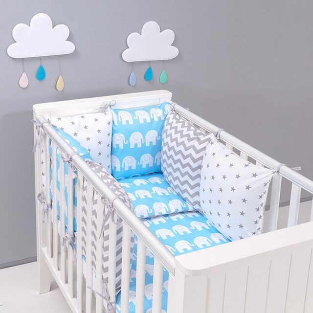 sevira kids tour de lit coussins modulables avec parure r versible el phants bleu pas. Black Bedroom Furniture Sets. Home Design Ideas