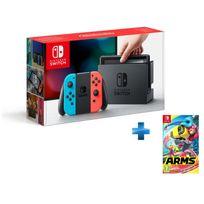 NINTENDO - Console Switch avec un Joy-Con rouge néon et un Joy-Con bleu néon + Arms