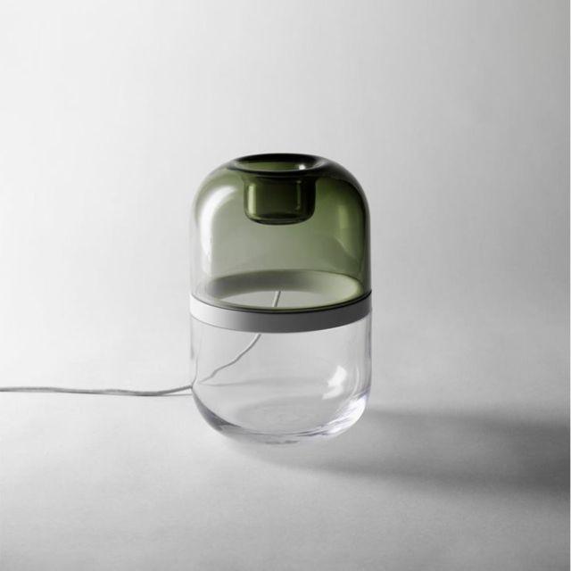 Design House Stockholm - Demi-lampe à poser Led H22cm vert bouteille et transparent Design Stockholm House - designé par Mattias Stenberg