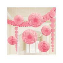 Amscan - Kit décorations rose clair en papier x9