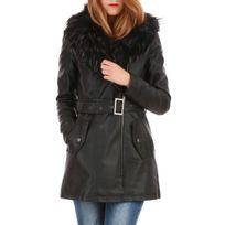 Lamodeuse - Manteau noir col fourrure en simili cuir