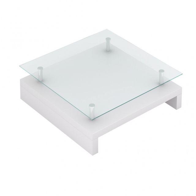 Casasmart Table basse blanche carrée surface en verre