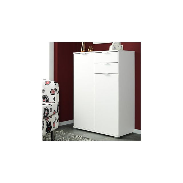 Commode 2 portes 2 tiroirs 71x101x35cm blanc