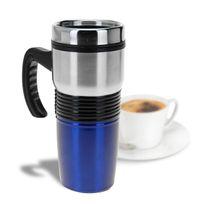 Totalcadeau - Mug isotherme en inox de 400 ml bleu