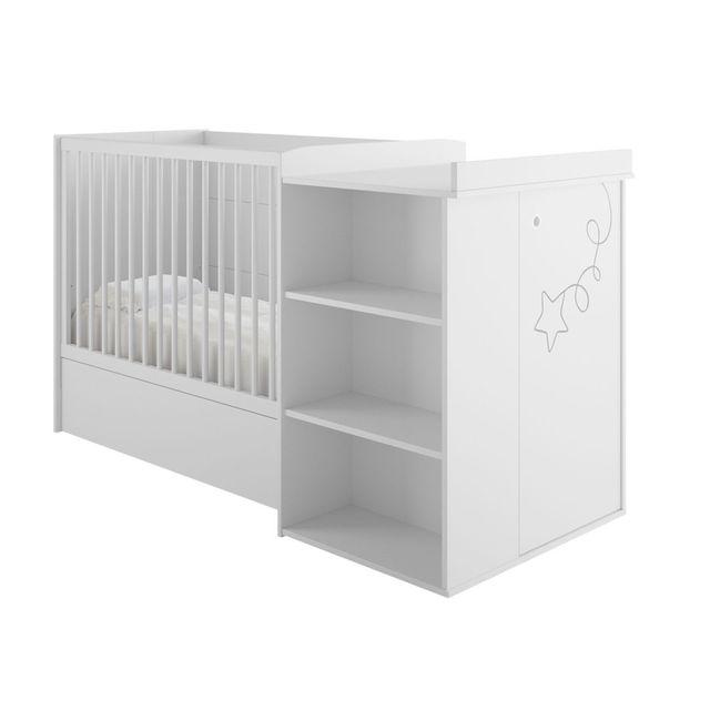 Galipette Lit bébé combiné évolutif 60x120cm décor blanc étoile cerf-volant Adele