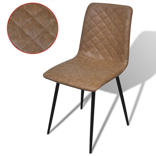 Vidaxl Chaises 2 pcs en cuir artificiel Marron