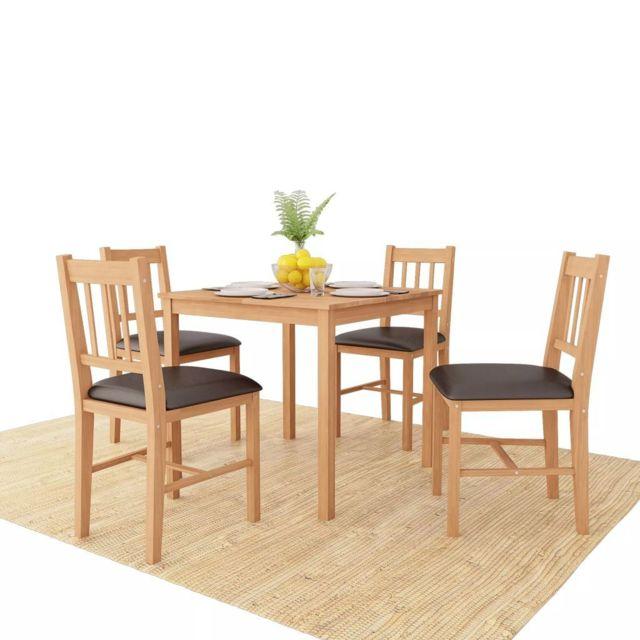 Vidaxl Chêne Massif Mobilier de Salle à Manger 5 pcs Table Chaises de Salon