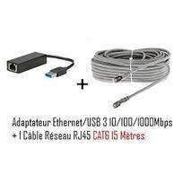 Cabling - adaptateur Usb mâle vers connecteur Rj45 v3 Gigabit + Cable ethernet Rj45 Cat6 15 mètres