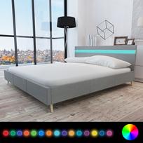 Rocambolesk - Superbe Lit avec revêtement en tissu gris clair et tête de lit Led 200 x 160cm neuf