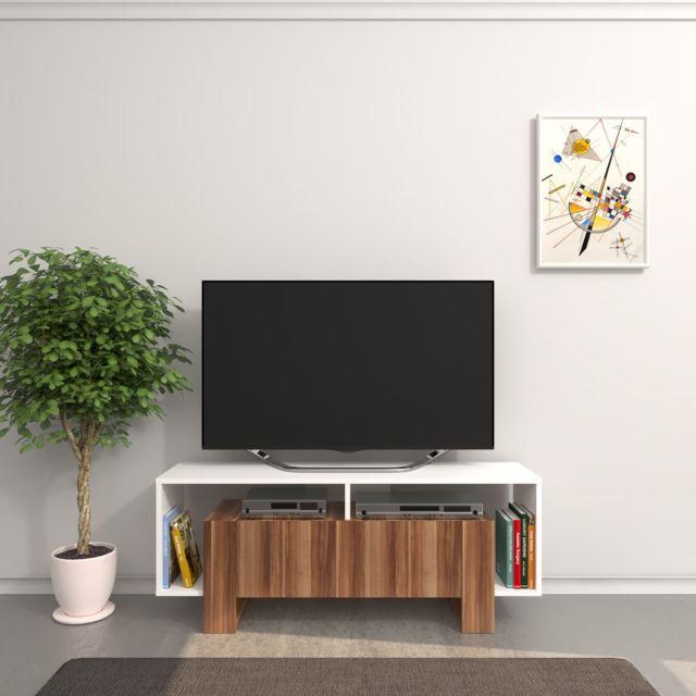Homemania Meuble Tv design Melville - L. 120 x H. 47 cm - Marron