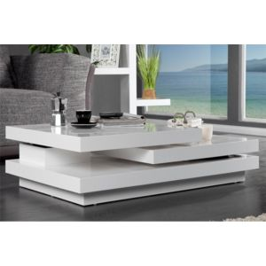 chloe design - table basse design levelo - blanc 110cm x 30cm x