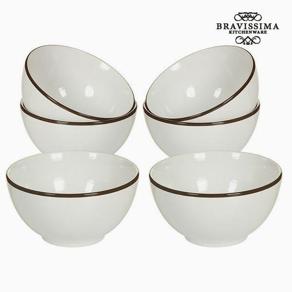 No Name Ensemble de bols Vaisselle Blanc Marron 6 pcs Collection Kitchen's Deco by Bravissima Kitchen