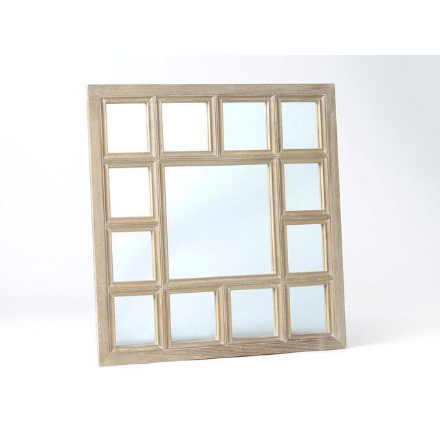Amadeus Miroir fenêtre mural carré en bois 86x86cm Facette