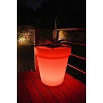 Lucide - Pot de fleur rond lumineux Led en plastique avec variateur couleur diamètre 60cm Flower
