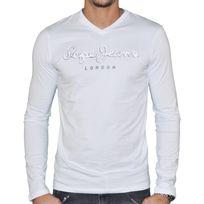 Pepe Jeans - T Shirt Manches Longues - Homme - Original Stretch Long Flock  - Blanc dec3033f833