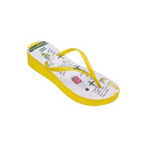 Amazonas Tongs compensées Tropical Enjoy Caipirinha Jaune et Blanc JAUNE - Chaussures Tongs Femme