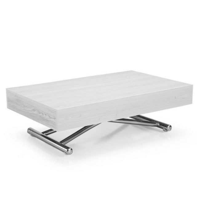 Inside 75 Table basse relevable Cube chêne blanc extensible 10 Couverts