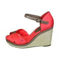 Tommy Hilfiger - Sandales compensées Elena rouge hibiscus pour femme