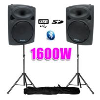 "Ibiza - Enceintes amplifiées 15"" 38cm 1600W Usb/BT + pieds"