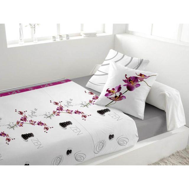 Marque Generique Parure de lit 4 pièces en flanelle Galet Blanc 2 personnes