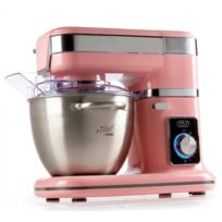 Domo - Robot de cuisine avec coupe légumes - Bol en inox brossé 4,5 Litres - Vitesse 8 niveaux - Design rose